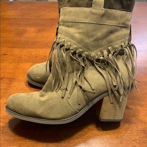Green heeled fringes booties